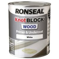 Ronseal Knot Block Wood Primer and Undercoat - White - All Sizes