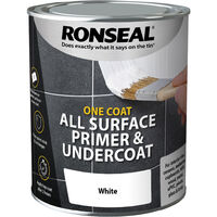 Ronseal One Coat All Surface Primer and Undercoat - White - 750ml