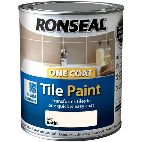 Ronseal One Coat Tile Paint Ivory Satin 750ml