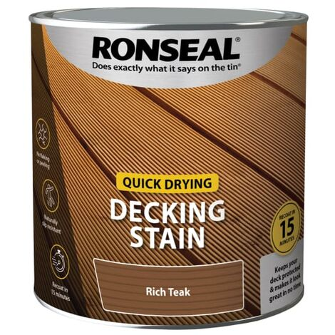 Ronseal Quick Drying Decking Stain Rich Teak 2.5 litre
