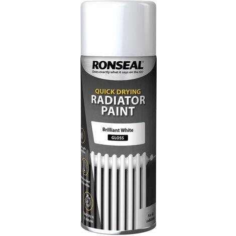 Ronseal Quick Drying Radiator Paint - White - Satin Gloss - 400ml Aerosol Spray