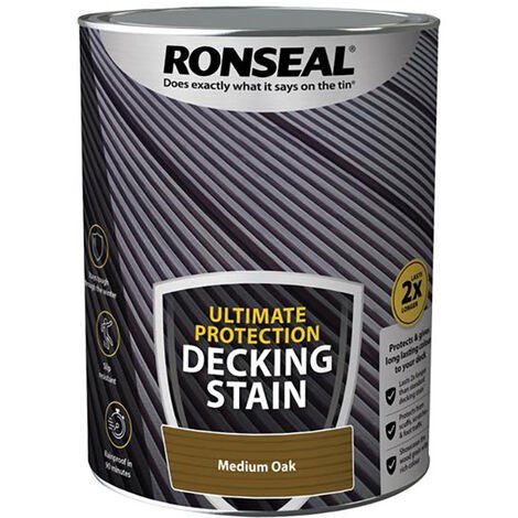 Ronseal RSLNUDSMO5L Ultimate Protection Decking Stain Medium Oak 5 litre