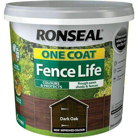 Ronseal RSLOCFLTBO5L One Coat Fence Life Tudor, Black, 5 Litre