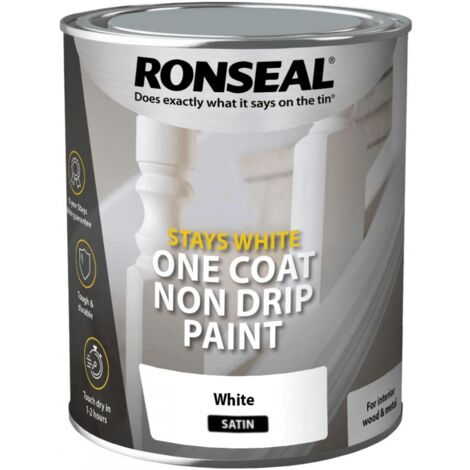 Ronseal RSLOCSWSP25L One Coat Stays Satin Paint, White, 2.5 Litre