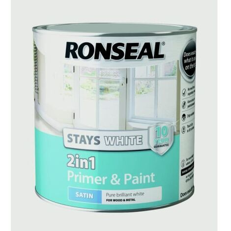 """main image of """"Ronseal RSLSW21SP25L Stay 2-in-1 Satin Paint, White, 2.5 Litre"""""""