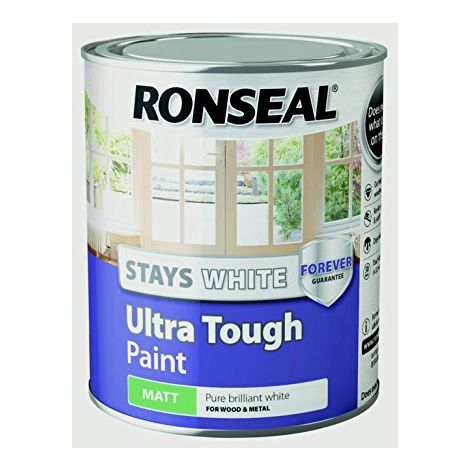 """main image of """"Ronseal Stays White Ultra Tough Paint - Brilliant White - All Sizes Available"""""""