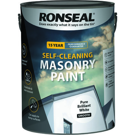 Ronseal Self-cleaning Masonry Paint - Pure Brilliant White - 5l