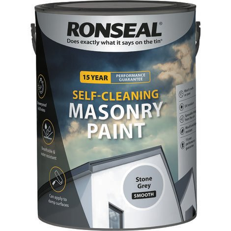 Ronseal Self-cleaning Masonry Paint - Stone Grey - 5l