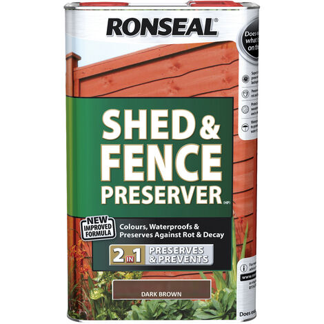 Ronseal Shed and Fence Preserver - 2 in 1 Formula - 5 Litre - All Colours