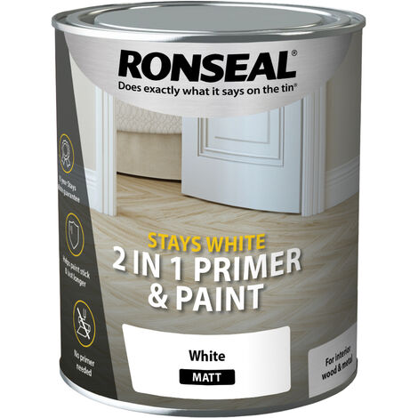 Ronseal Stays White 2 in 1 Primer and Paint - Brilliant White - All Sizes