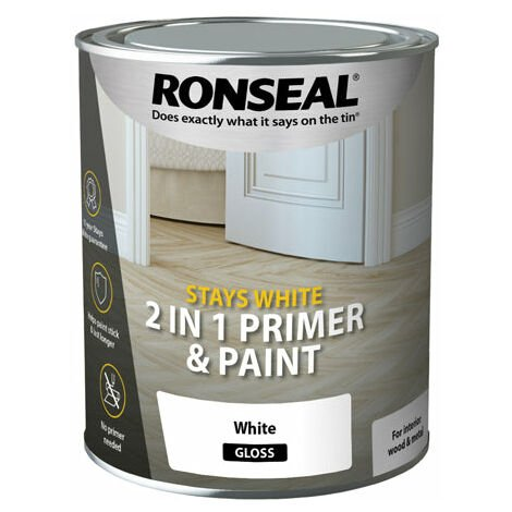 """main image of """"Ronseal Stays White 2 in 1 Primer and Paint - Brilliant White - All Sizes"""""""