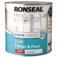 Ronseal Stays White 2in1 Primer & Paint Pure Brilliant White Gloss 2.5L