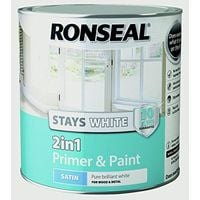 Ronseal Stays White 2in1 Primer & Paint Pure Brilliant White Satin 2.5L