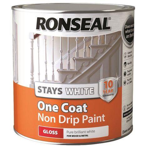Ronseal Stays White Non Drip One Coat Pure Brilliant White Gloss 2.5L