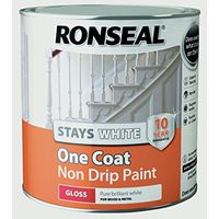 Ronseal Stays White Non Drip One Coat Pure Brilliant White Gloss 2.5L