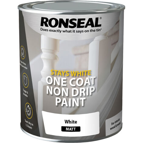 Ronseal Stays White One Coat Non Drip Paint - Pure Brilliant White - All Sizes