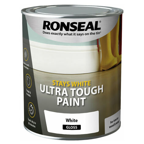 Ronseal Stays White Ultra Tough Paint - Brilliant White - All Sizes Available