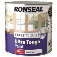 Ronseal Stays White Ultra Tough Paint Pure Brilliant White Gloss 2.5L