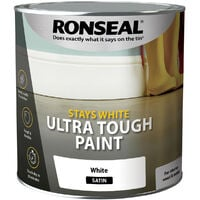 Ronseal Stays White Ultra Tough Paint Pure Brilliant White Satin 2.5L