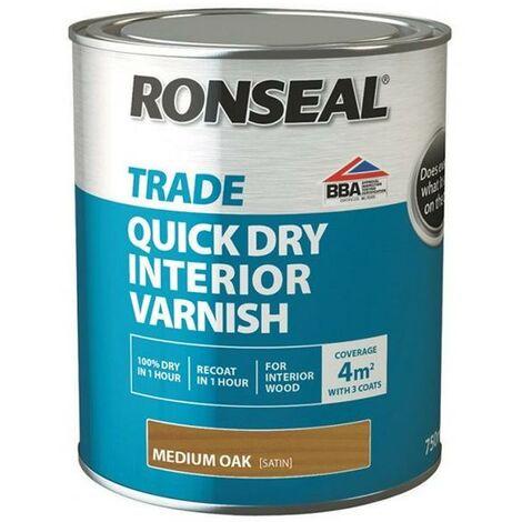 Ronseal Trade Quick Dry Interior Varnish - Medium Oak - 750ml