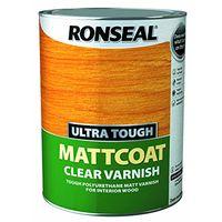 Ronseal Ultra Tough Interior Varnish - Clear Matt 5litre