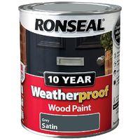 Ronseal Weatherproof 10 Year Wood Paint - Satin - Grey - 2.5 Litre