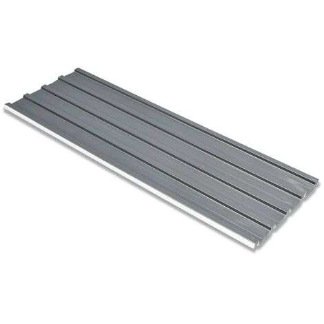 Roof Panels 12 pcs Galvanised Steel Grey