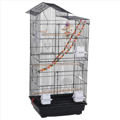 Roof Top Bird Cage Parrot Canary Large Cockatiel Conure Huge House w/Toys