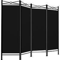 Room Divider Paravent Metal Frame Folding Black