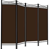 Room Divider Paravent Metal Frame Folding Brown