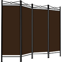 Room Divider Paravent Metal Frame Folding Brown