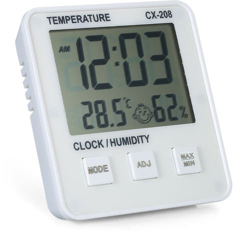 Room temperature and humidity meter with time white
