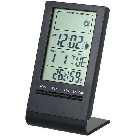 Room temperature and humidity meter with weather forecast black