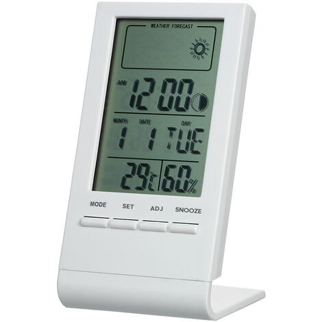Room temperature and humidity meter with weather forecast white