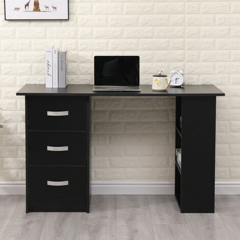 Roomee Computer Desk with 3 Drawers and Storage Shelf in Black
