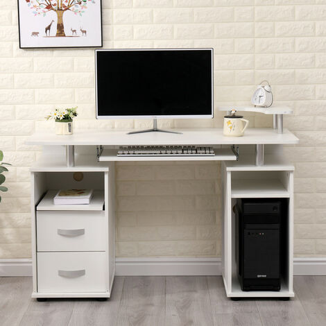 Roomee Computer Desk with Keyboard Tray and Storage Drawers/Shelves in White