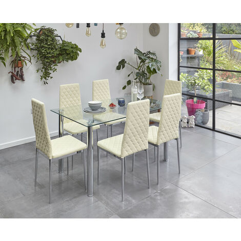 Roomee Glass Dining Table Set with 6 Chairs in Cream Dining Room Furniture
