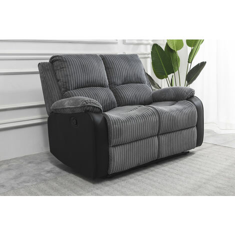 Roomee Living room Jumbo Cord Fabric Recliner Lounge 2 seater Sofa