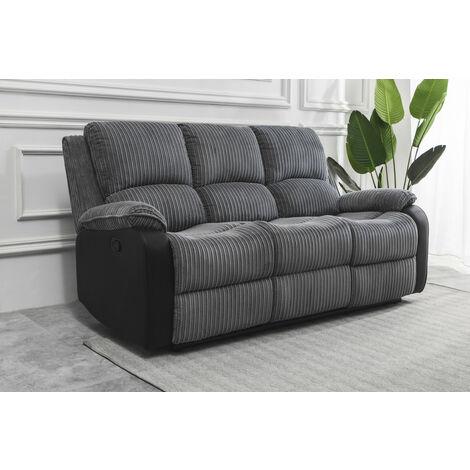 Roomee Living room Jumbo Cord Fabric Recliner Lounge 3 seater Sofa