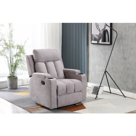 Roomee Living Room Recliner Fabric Armchair Sofa in Light Grey with Padded Seat