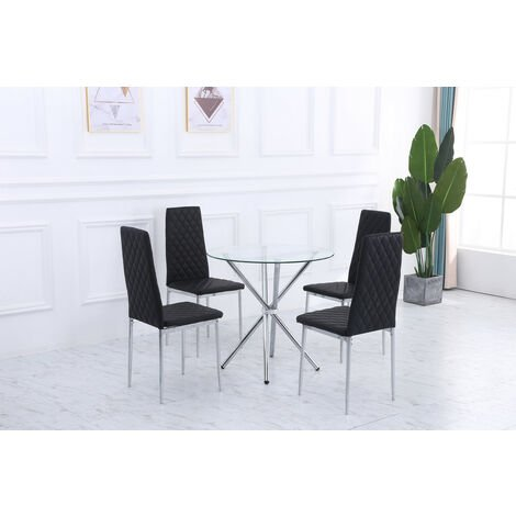 """main image of """"Orsa glass dining table and chairs set"""""""