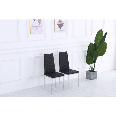 Roomee Pair of Black Dining Chairs with Chrome legs Dining Room Furniture