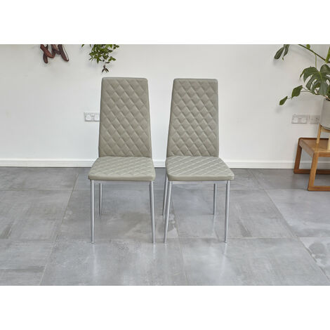 """main image of """"Roomee Pair of Grey Dining Chairs with Chrome legs Dining Room Furniture"""""""
