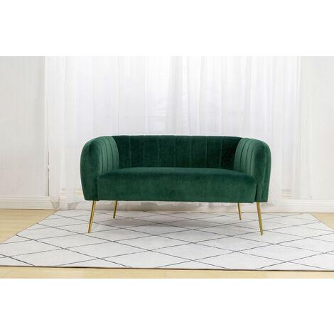 Roomee Russell Living room Modern Velvet Fabric 2 seater Sofa - Green