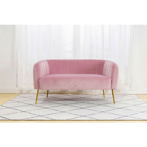 Roomee Russell Living room Modern Velvet Fabric 2 seater Sofa - Pink