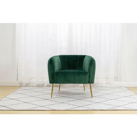 Roomee Russell Living room Velvet Fabric Armchair Modern Chair - Green