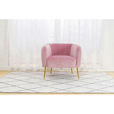 """main image of """"Roomee Russell Living room Velvet Fabric Armchair Modern Chair - Pink"""""""