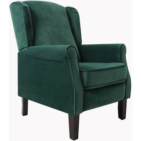 """main image of """"Roomee Russell Wing Back Fabric Recliner Armchair Sofa Chair in Green"""""""