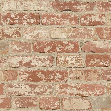 RoomMates Papel de pared adhesivo de ladrillo estucado rojo RMK9035WP - Multicolor