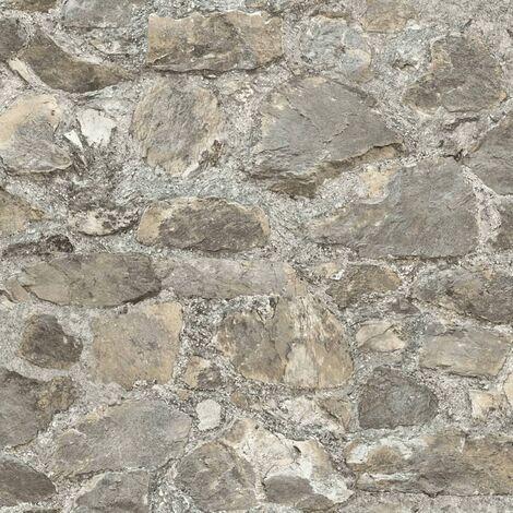 RoomMates Papel de pared adhesivo de piedra desgastada gris RMK9096WP - Gris
